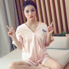 Summer2019 satin pajamas suit female solid color V-neck sleepwear sexy casual loose wear T-shirt shorts 2 sets pijama plus size
