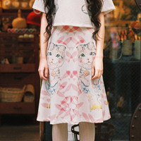 Mori Girl Style Japanese Descent Candy Colored Sweet And Elegant Cute Cartoon Cat Printing Lady Lolita