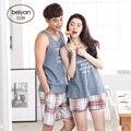 Os Amantes de verão Sleepwear Masculino Ou Feminino Alcinhas Salão de Algodão 100% do Sexo Masculino Colete Fino Seelpwear