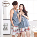 Summer Lovers Sleepwear Male Or Female Spaghetti Strap Cotton Lounge 100% Male Thin Vest Seelpwear