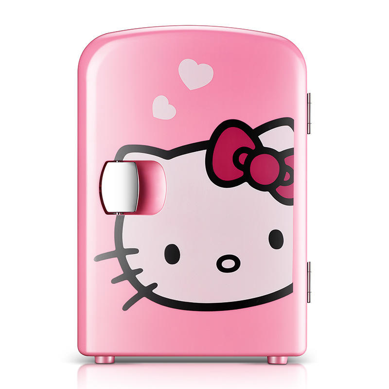 Hello Kitty Car Fridge Cooler Box Mini Fridges Small 4Lrefrigerator Car Electrical Cooler Mini Refrigerator Compressor