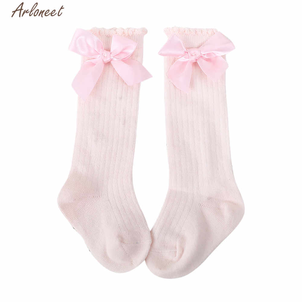 ARLONEET Socks  Baby Girl Boy Soft Cotton Blend  shoes Kids Cartoon Big Bow Knee NEWEST Warm Socks For Autumn And Winter
