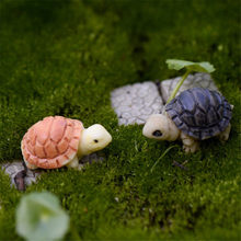 Bryophyte Micro Landscape Meaty Plants Two Colored Small Turtles Tortoise Shells Diy Ornaments Home Decor Miniature Garden(China)