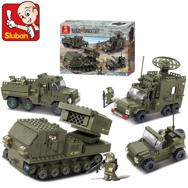 Sluban armée militaire fer de lance B0310 blocs de Construction ensembles 865 pièces éducatif bricolage Construction de puzzle briques jouets