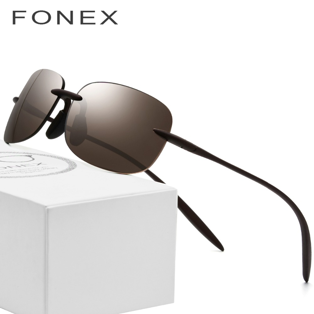 Ultem TR90 Rimless Polarized Sunglasses Men 2018 High Quality Square Brand Designer Sun Glasses for Women with Nylon Lenses