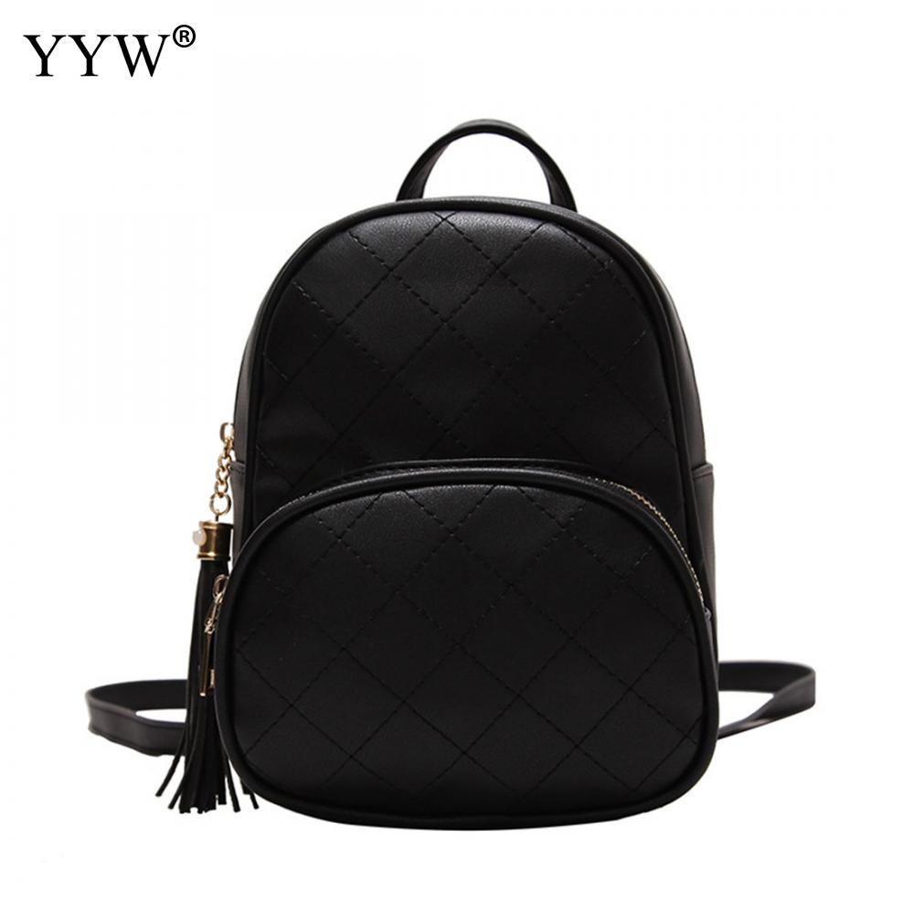 High Quality Solid Mini Backpack Female Small Leather Black Bag Stylish Back Pack Backpacks For Teenagers Girls School Bags