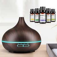 300ml ultradźwiękowy nawilżacz powietrza Aroma dyfuzor olejków eterycznych z drewna ziarna 7 zmiana koloru światła LED dla Office Home