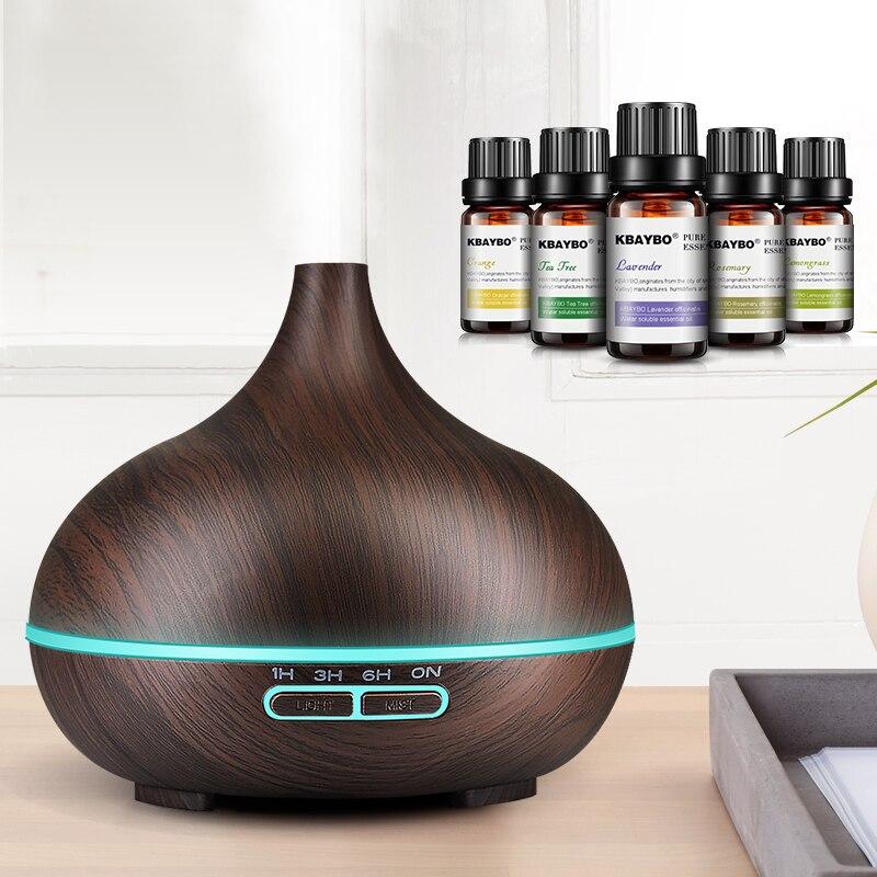 300ml de Óleo Essencial Umidificador de Ar Ultra Aroma Difusor com Grão de Madeira 7 Mudança Da Cor Luzes LED para Home Office