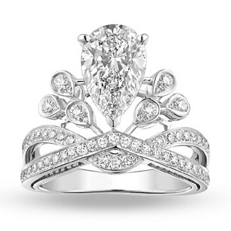 Crown Style White Cubic Zirconia White Filled Wedding Ring
