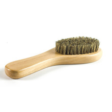 Soft Pig Bristles Hair Buffing Brush with Wooden Handle for Polishing and Cleaning Leather Shoes