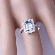 Caimao 6x8 мм изумрудная огранка Аквамарин 14 к белое золото натуральный 0.38ct кольцо с бриллиантом ювелирные украшения