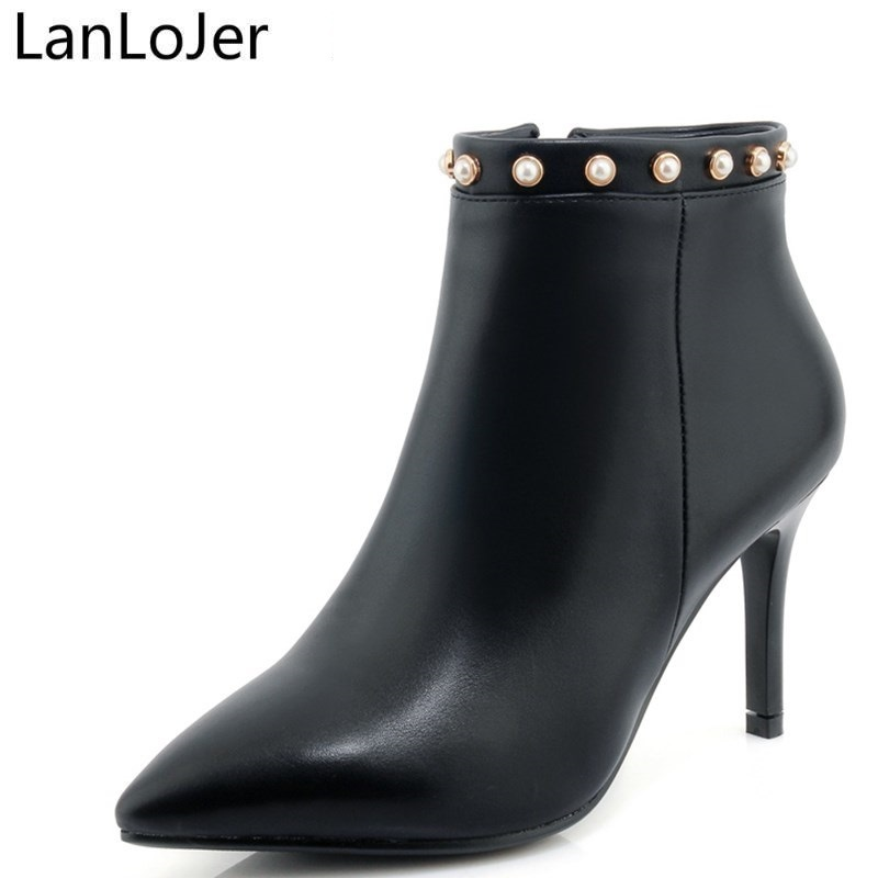LanLoJe New Pointed Toe Nude Boots Women Fashion Shoes Side Zipper Sexy Thin High Heels Ladies Ankle Boots Dress Shoes Size32-42