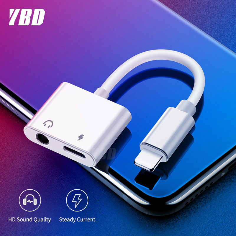 YBD 2 In 1 Lighting Charger Listening Adapter For Iphone X 7 XR 8 Charging Adapter 3.5mm Jack AUX Splitter Adaptador For Iphone