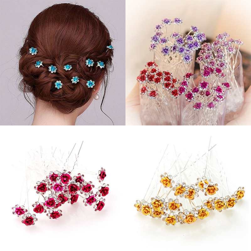 4 Pack Rhinestone Alloy Flower Hair Side Combs Wedding Bridal Jewelry Hair Clips