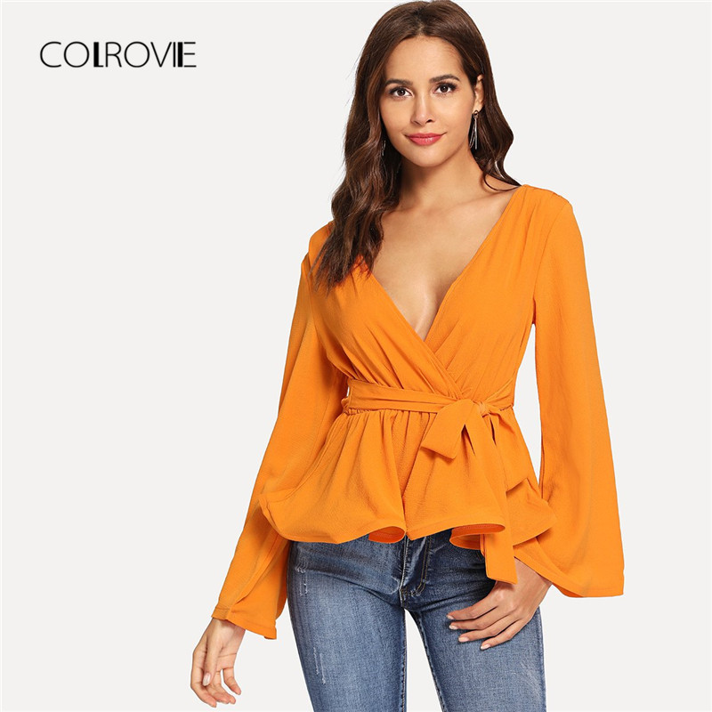 COLROVIE Ginger Bell Sleeve Knot Wrap V Neck Sexy   Blouse     Shirt   2018 Autumn Flounce Sleeve Streetwear Women   Blouse   And Tops