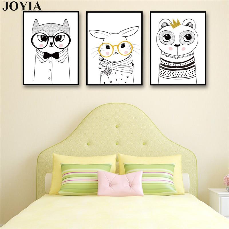 Cartoon Lovely Bear Rabbit Glasses Wall Art Canvas Poster Modern ...