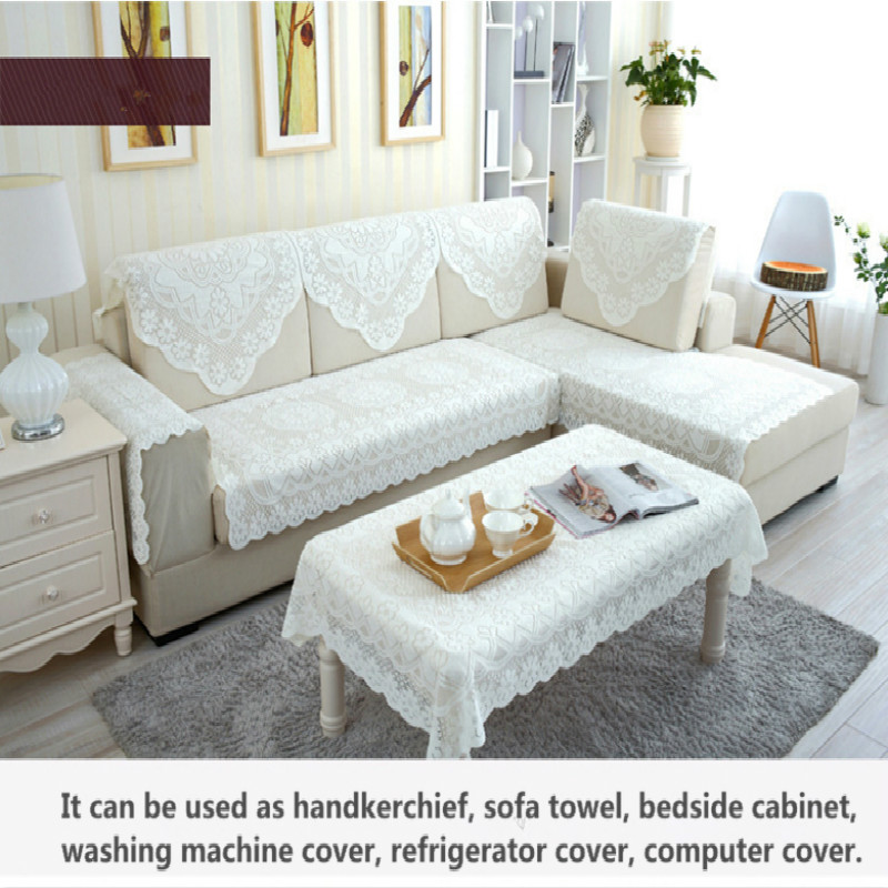solid floral lace sofa cover set summer breathable embroidered sofa towel l shaped sofa couch cover table cloth furniture covers