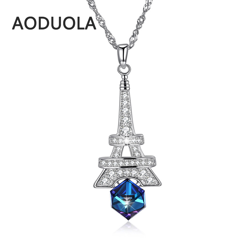925 sterling silver necklace Eiffel Towe with Blue crystal Pendant silver long Chain Necklaces for Women Jewelry gift Fashion