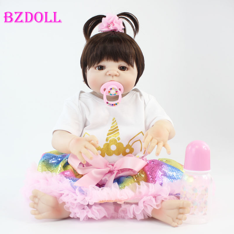 55cm Full Body Silicone Reborn Baby Doll Toy 22 inch Vinyl Newborn Princess Babies With Unicorn