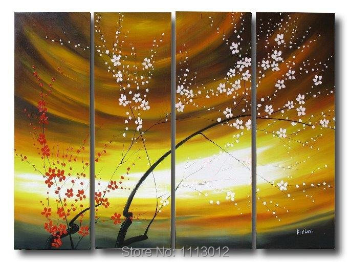Hand Painted Yellow Abstract Plum Flower Oil Painting On Canvas 4 Pcs Sets Home Modern Wall Art Decoration For Living Room Sale