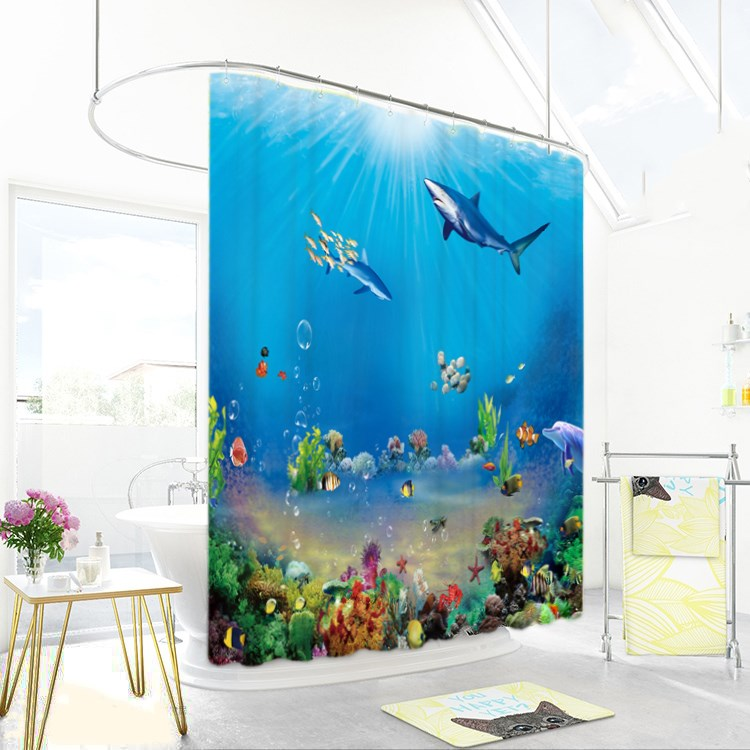1800x1800mm Customized underwater world fish bathroom shower curtain waterproof thickening mildew bathroom curtain partition-1