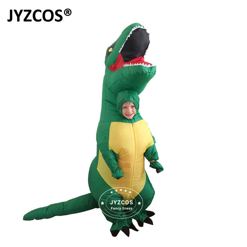 ... JYZCOS T REX Inflatable Dinosaur Costume For Adults Halloween Costume  Fan Operated Disfraces Jumpsuit Fancy ...
