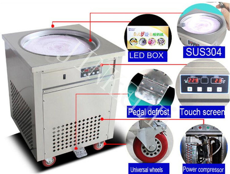 110v 220v R410 Fry ice cream machine fried ice roll single flat pan rolled fried ice machine ice cream rolls freezer machine110v 220v R410 Fry ice cream machine fried ice roll single flat pan rolled fried ice machine ice cream rolls freezer machine