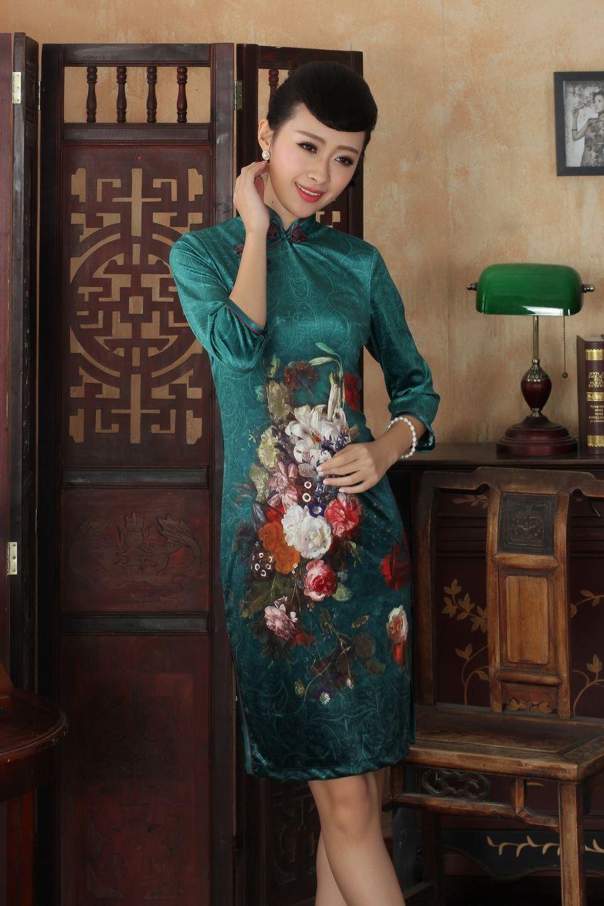 Livraison Velours Femmes sam Nouvelle Xl Chaude Robe S Xxl Arrivée Soie Gratuite Style Sdnew Vente Cheong 185 L M De Tradition Chinois rz8Frw