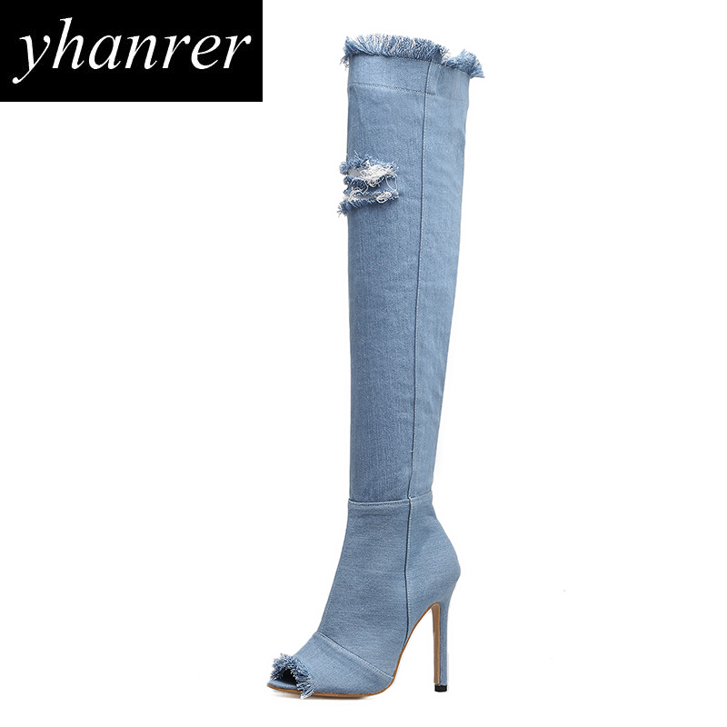 2017 New Sexy Hole Over The Knee High Women's Boots Fashion Peep Toe Thin Heel High Heels Winter Thigh High Boots Shoes Y167 nasipal 2017 new women pu sexy fashion over the knee boots sexy thin high heel boots platform woman shoes big size 34 43 g804
