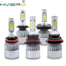 2X White H4 H7 H11 H1 H3 9005 9006 COB Car LED Headlight Bulbs Hi-Lo Beam 72W 8000LM 6500K Auto Headlamp Led Car Lights DC12v 24(China)
