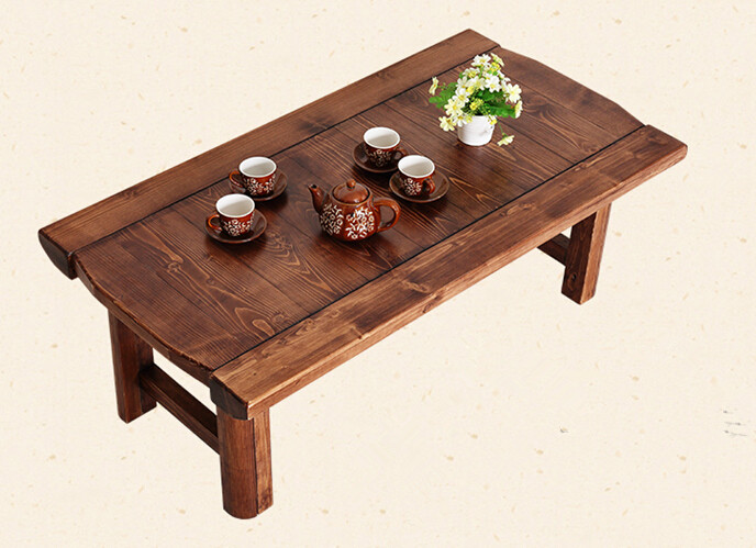 Vintage Wooden Table Foldable Legs Rectangle 90cm Living Room Furniture Asian Antique Style Long Bench Low Coffee Table Wood