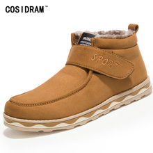 Winter Warm Plush Men Shoes With Fur Hook Suede Leather Casual Shoes Platform Rubber Sole Leisure Fashion Male Footwear RME-180
