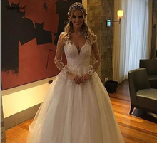 Sexy V neck Button Back Long Sleeve Wedding Dress Ball Gown Appliques Beading Embroidery Pure White Lace Wedding Dresses