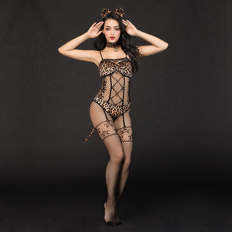 Adult Women Sexy Black Fishnet Bodystocking Leopard Bra And Brief Set Erotic Catwomen Costume Outfit 6923