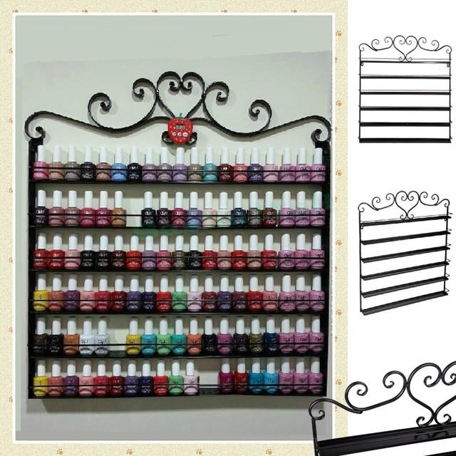 Corazón de Metal Negro Esmalte de Uñas Mural Rack Caben Hasta 108 Botellas de cosméticos de maquillaje caja de almacenamiento