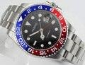 Часы Parnis 40 мм GMT с красным и синим ободком  sapphire  автоматический подарок для мужчин E1544