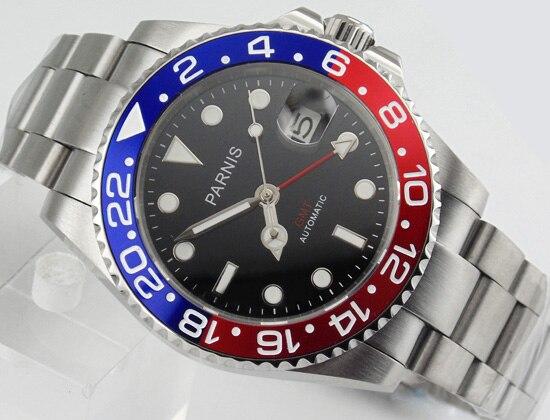 Parnis uhr 40mm GMT rot und blau Lünette sapphire datum automatische für männer Geschenk E1544-in Mechanische Uhren aus Uhren bei  Gruppe 1