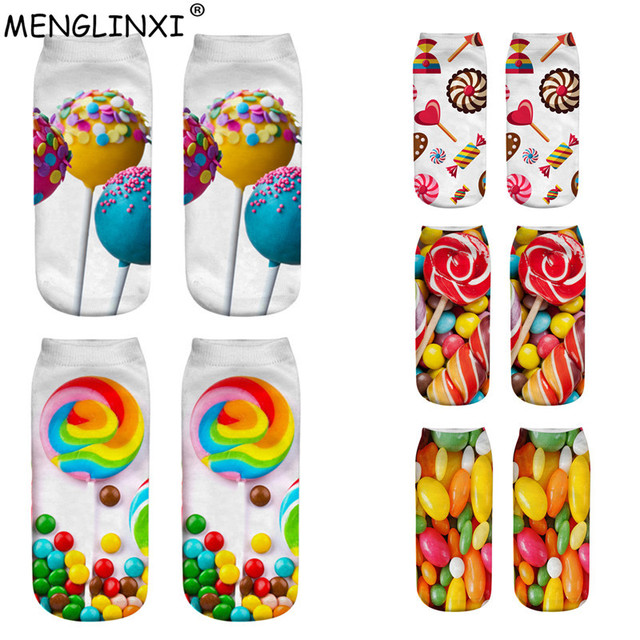 2019 New Candy Print 3D Socks Women Kawaii Ankle Licorne Femme Girls Cute Emoji Funny Socks Happy Calcetines Drop Shipping