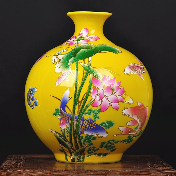 Marriott Jingdezhen керамики желтый Niannian Youyu ваза современная мода мебель свадебные ваза украшения