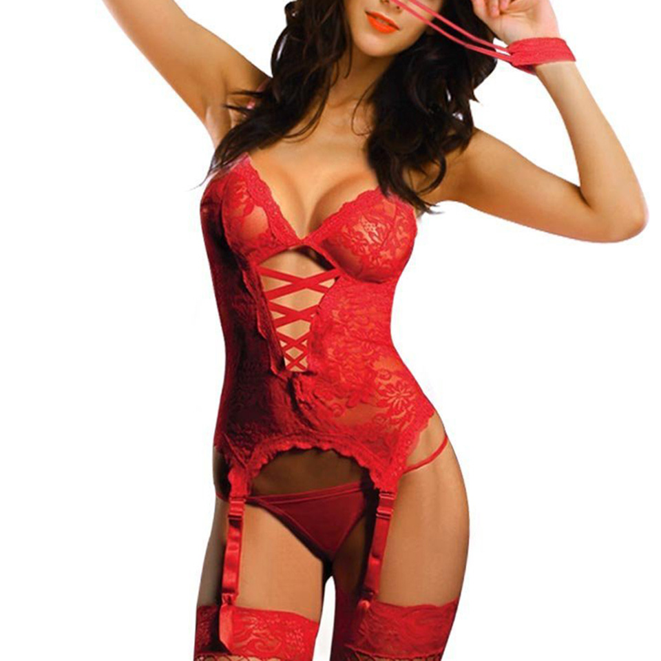 Sexy Lingerie Hot Women Lingerie Lace Transparent Handcuff + G-String+ Garters+Stockings Sex Toys Erotic Lingerie Sexy Costumes