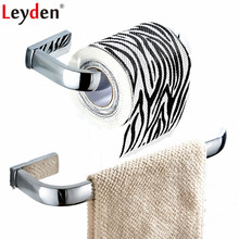 Leyden 2pcs Bathroom Accessories Set Chrome Brass Towel Ring Holder Wall Mounted Toilet Paper Tissue