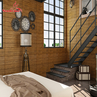 PE Form 3D Wall Panels The Living Room Wall Brick Wooden Self adhesive Wallpaper Stickie Bedroom Retro Home Decor Wall Stickers
