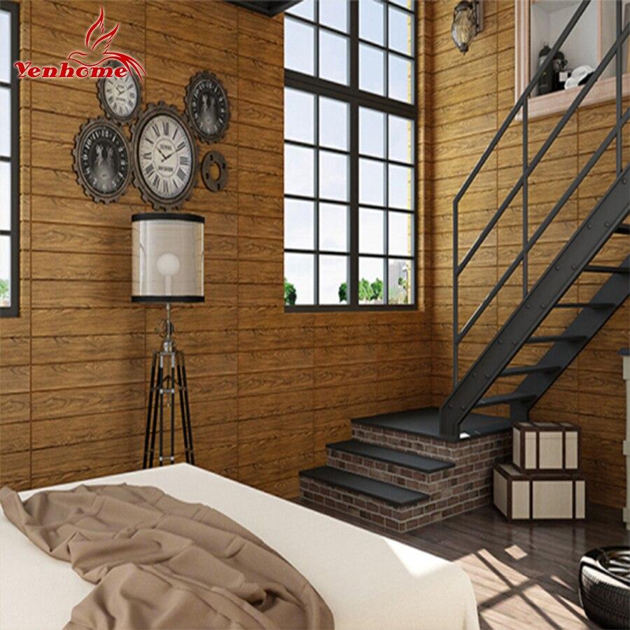 PE Forme 3D Panneaux Muraux Le Salon Mur De Briques En Bois Auto-adhésif Papier Peint Stickie Chambre Rétro Décor À La Maison Mur autocollants