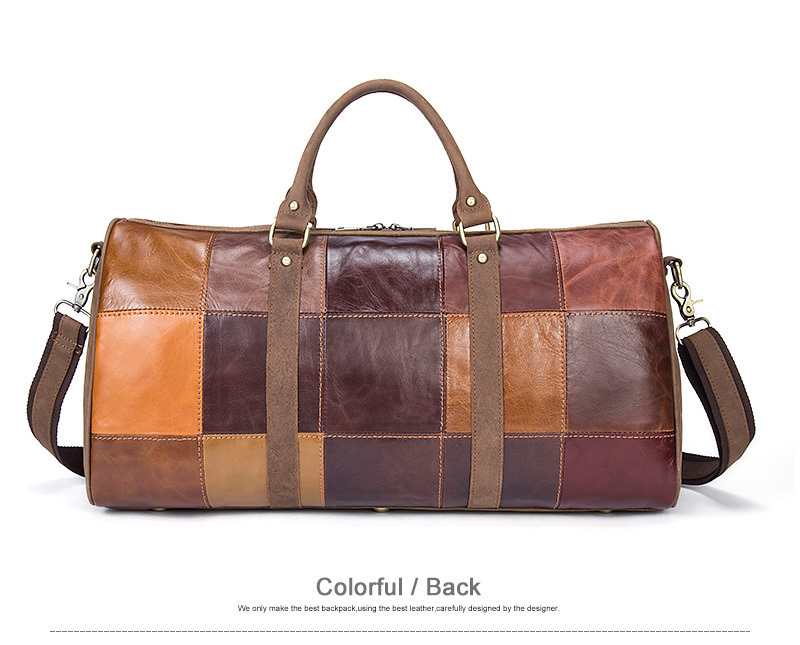 Genuine Leather Travel Retro Style Men Travel Bags Weekend Bag Patchwork Leather Luggage Mala De Viagem Spor Çantası