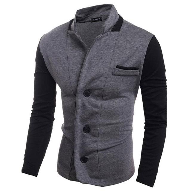 Últimas Escudo Patchwork Designs 2017 Hombres Otoño Chaqueta Pequeño Traje Casual Fashion Slim Fit Knitting Suit Jacket