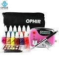 OPHIR 0.3mm Aerógrafo Uñas Kit 12x Nail Tintas De Aire Rosada compresor con Plantillas de Uñas Con Aerógrafo y Bolsa y Cepillo De Limpieza Set_OP-NA001P