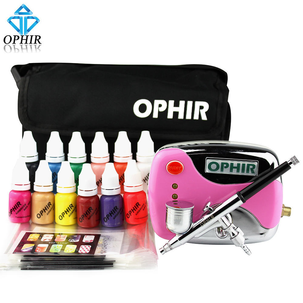OPHIR 0.3mm Nail Airbrush Kit 12x Nail Inks Pink Air Compressor with Airbrush Nail Stencils & Bag & Cleaning Brush Set_OP-NA001P цены