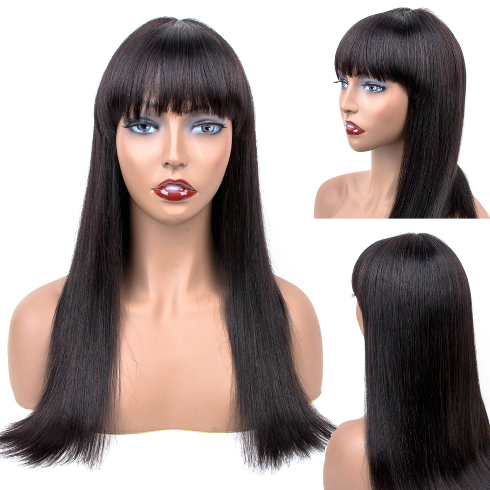 Allrun Human Hair Lace Front Wig With Bang 16 inches Long Malaysia Straight Machine Made Wig