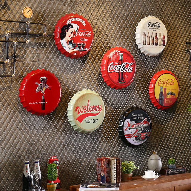 Creative Iron Beer Bottle Cap Artcrafts Retro Stickers Wall Hanging Decoration Vintage Bar Cafe Shop Home Decoration Accessories 1