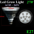 New Arrival 27W 6RED&3BLUE E27 AC85-265V Hydroponic Plant Flowers Vegatables Greens Led Grow Light Lamp Free Shipping